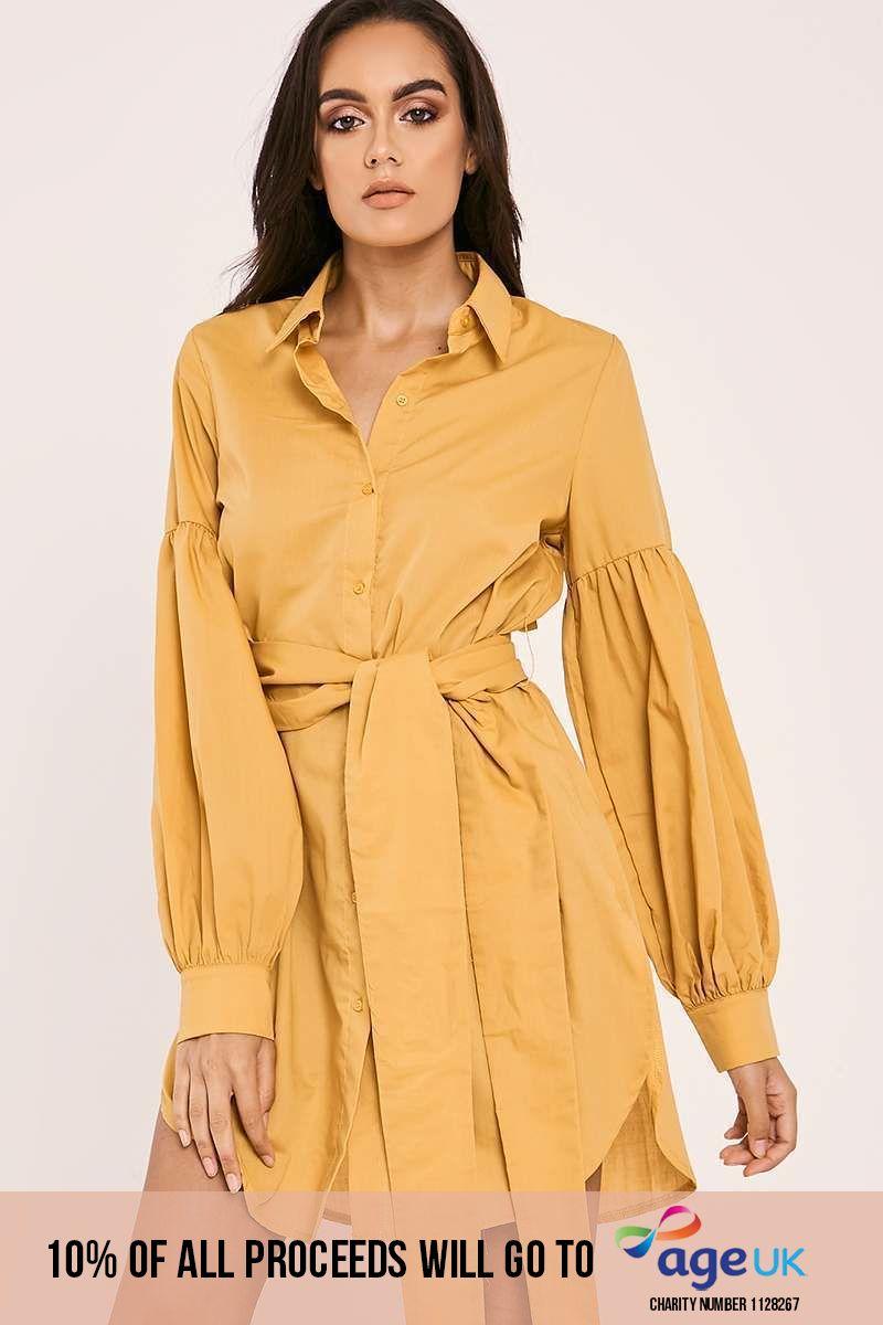 mustard tie waist balloon sleeve shirt dress