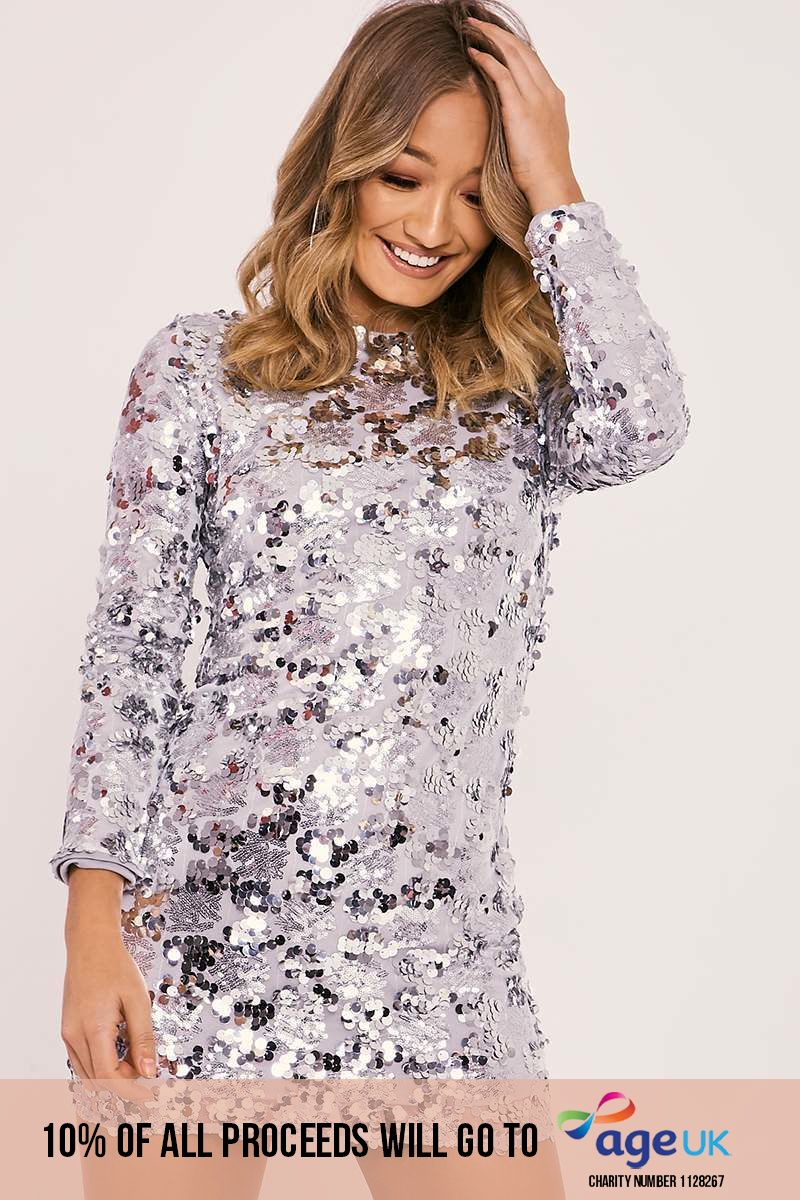 silver sequin long sleeve bodycon dress