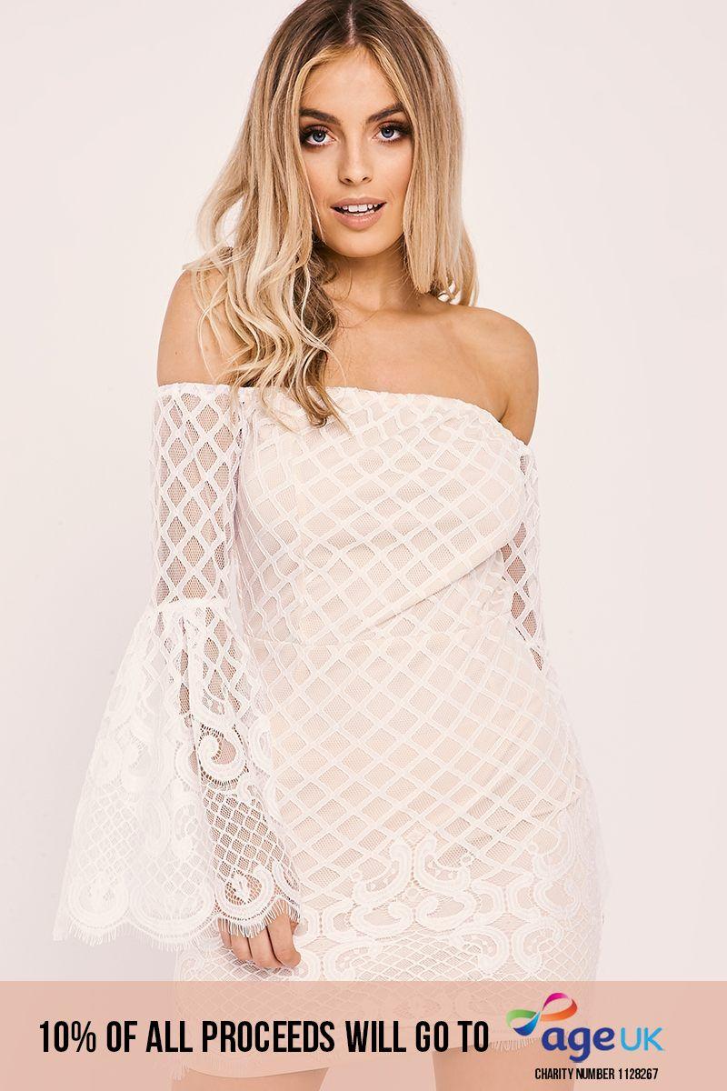 white lace flared sleeve bardot dress