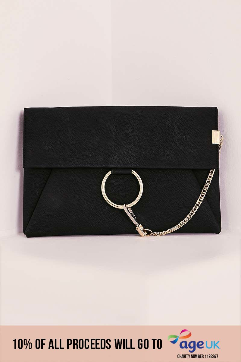 BLACK FAUX LEATHER GOLD CHAIN CLASP BAG