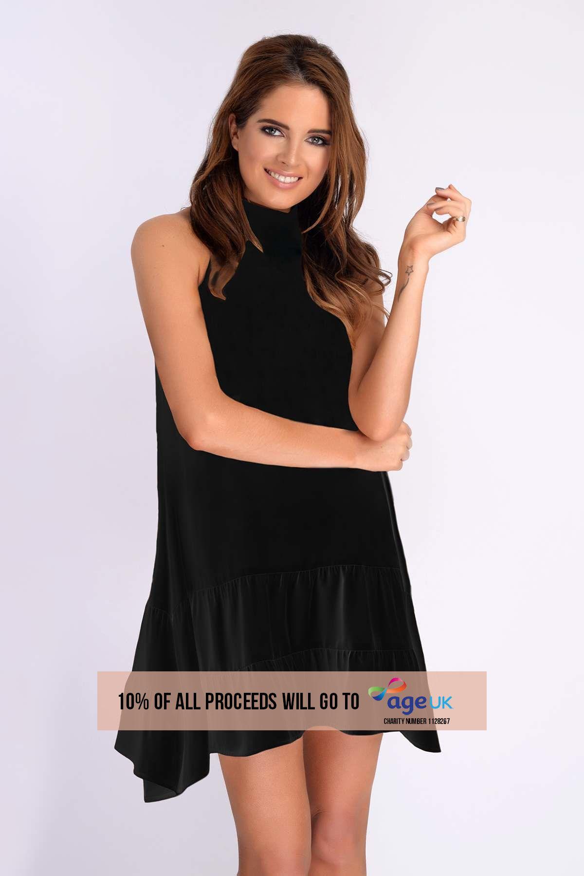 Binky Black High Neck Tie Back Swing Dress