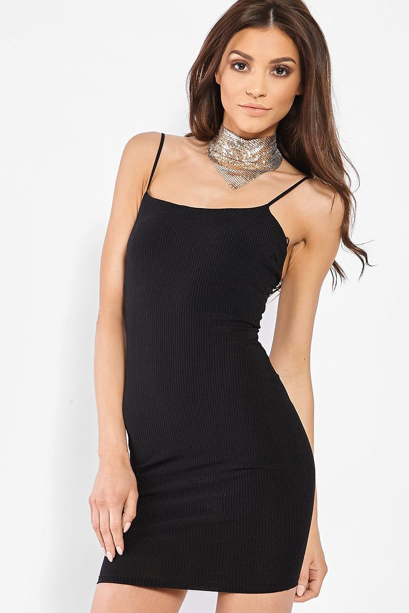 black low back ribbed cami dress