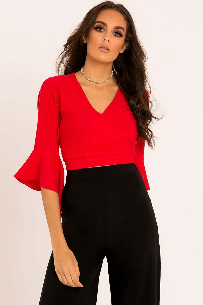 red wrap tie back top