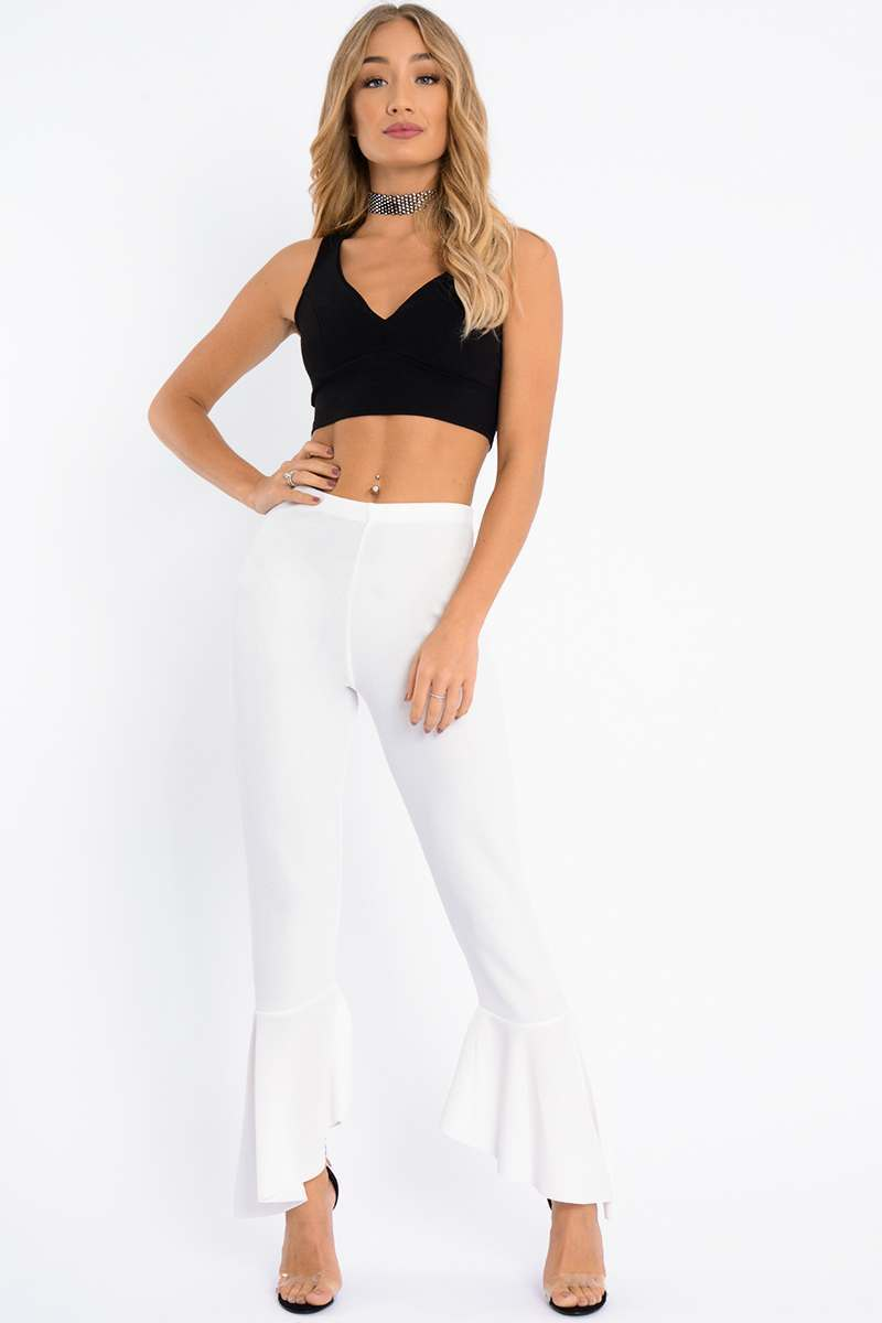 white frill hem trousers