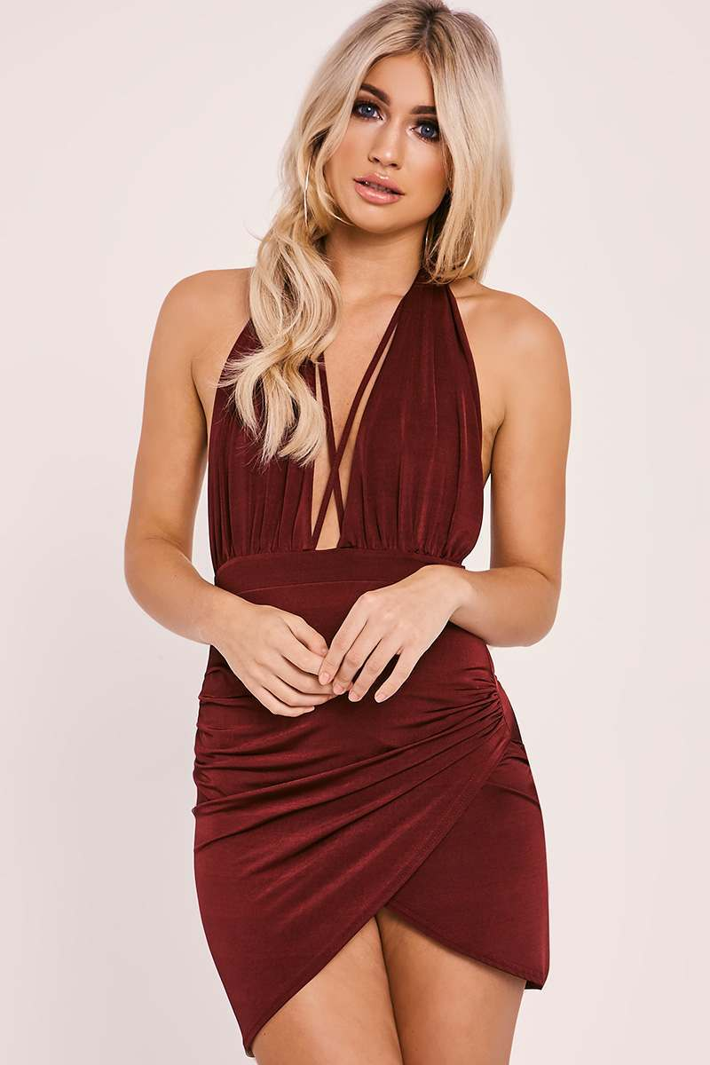 AYLEEN WINE HALTERNECK RUCHED MINI DRESS