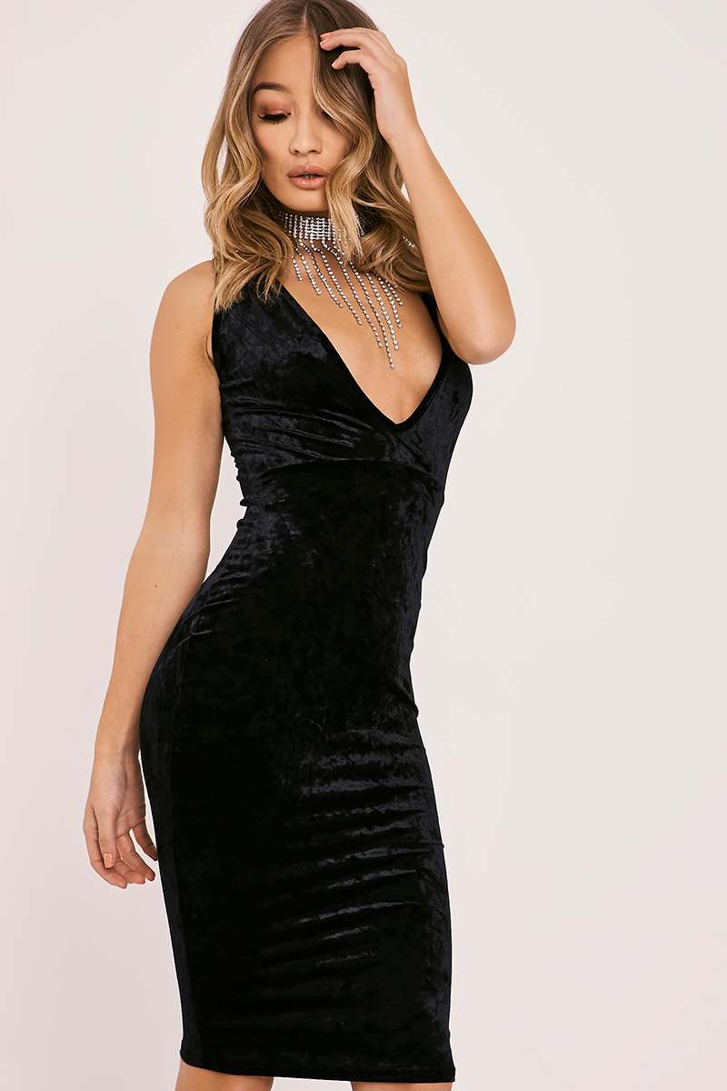 black crushed velvet plunge midi dress