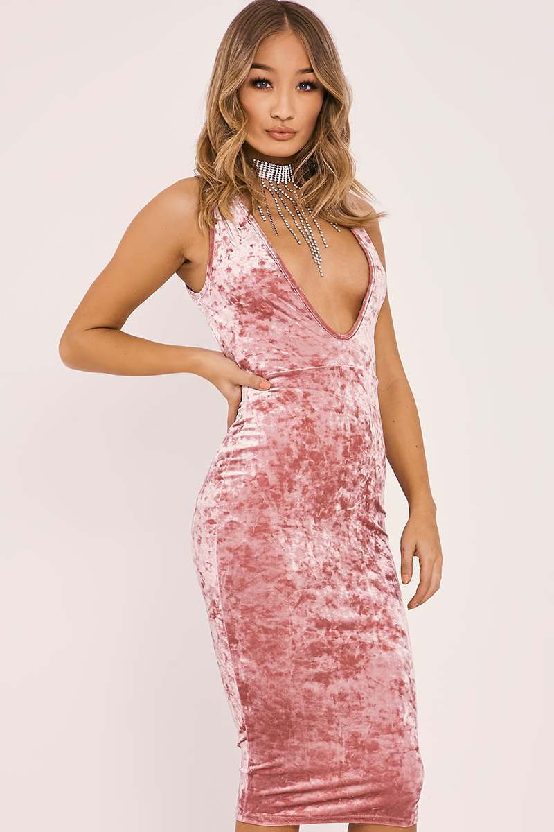 pink crushed velvet plunge midi dress