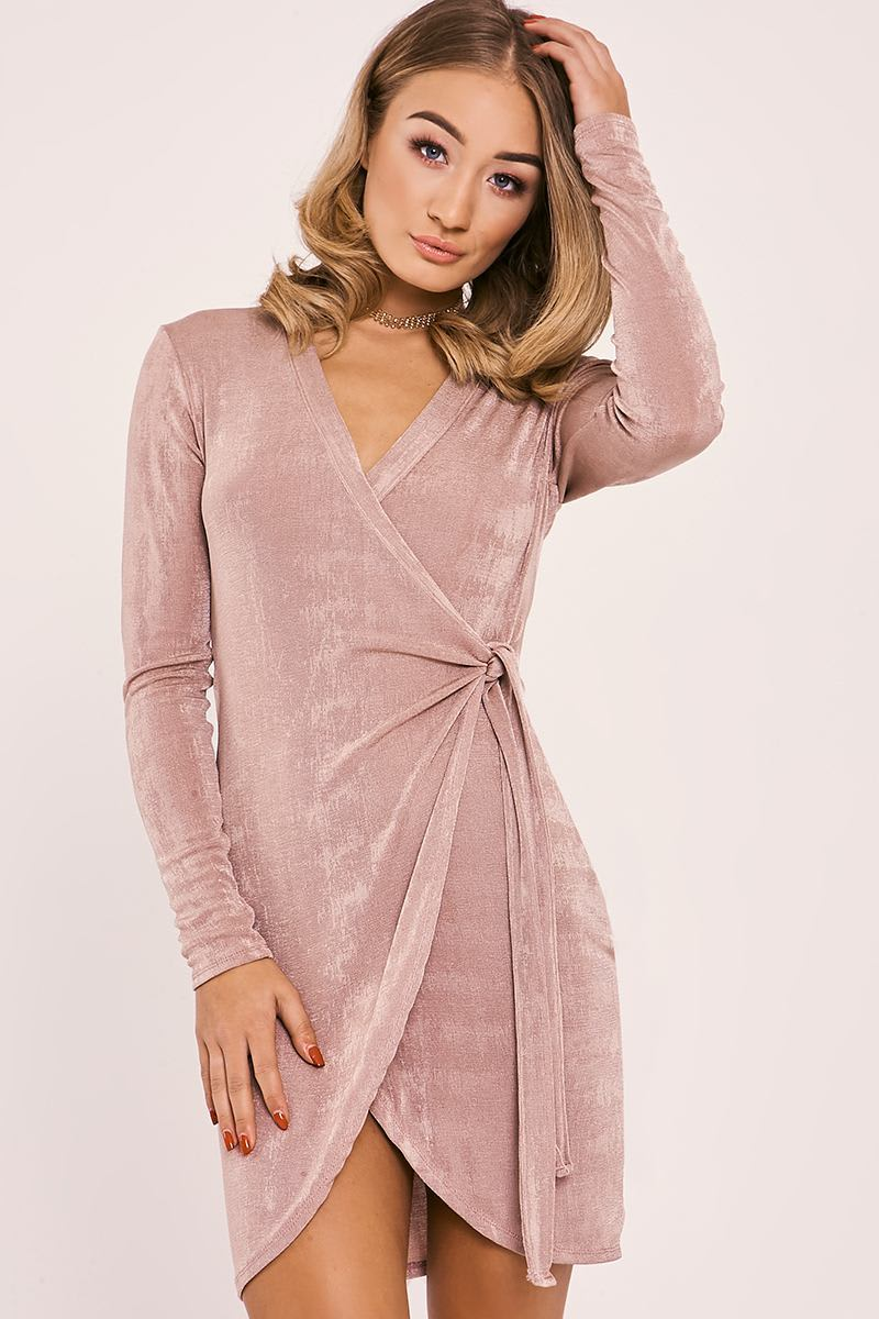 rose slinky wrap dress