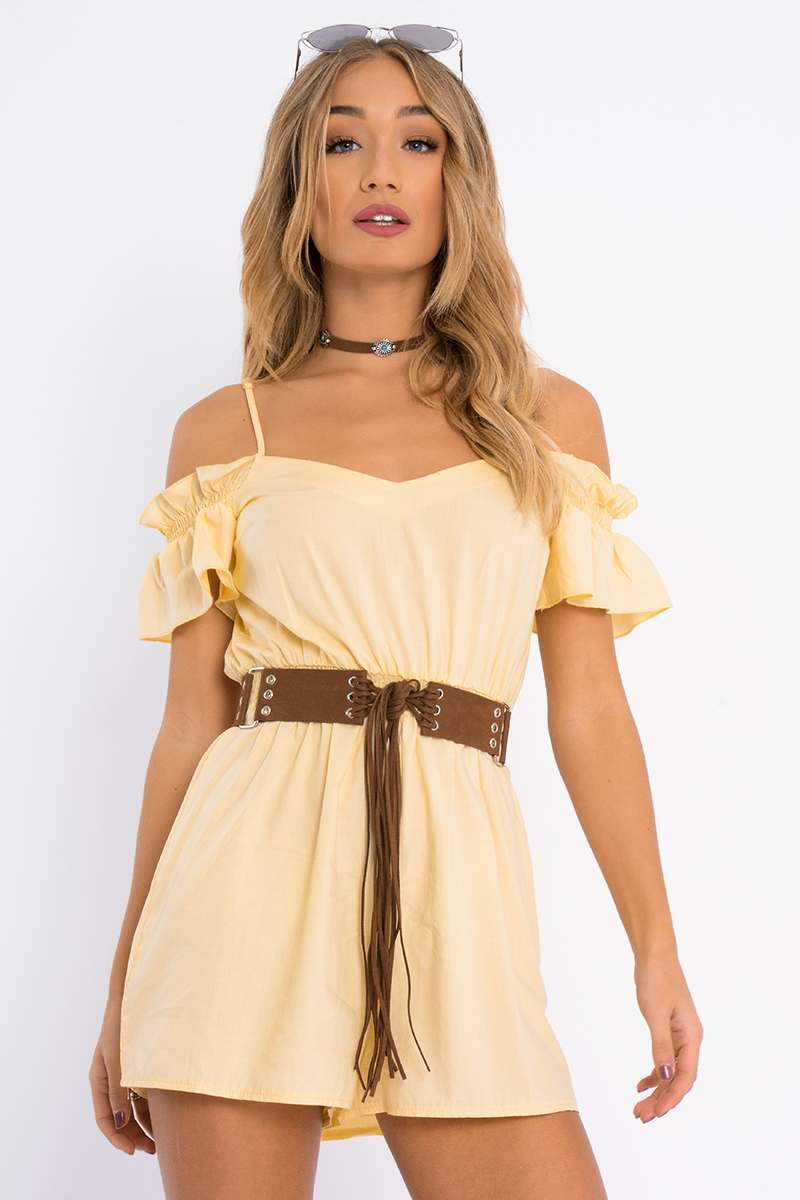 CALANDRA YELLOW FRILL COLD SHOULDER PLAYSUIT
