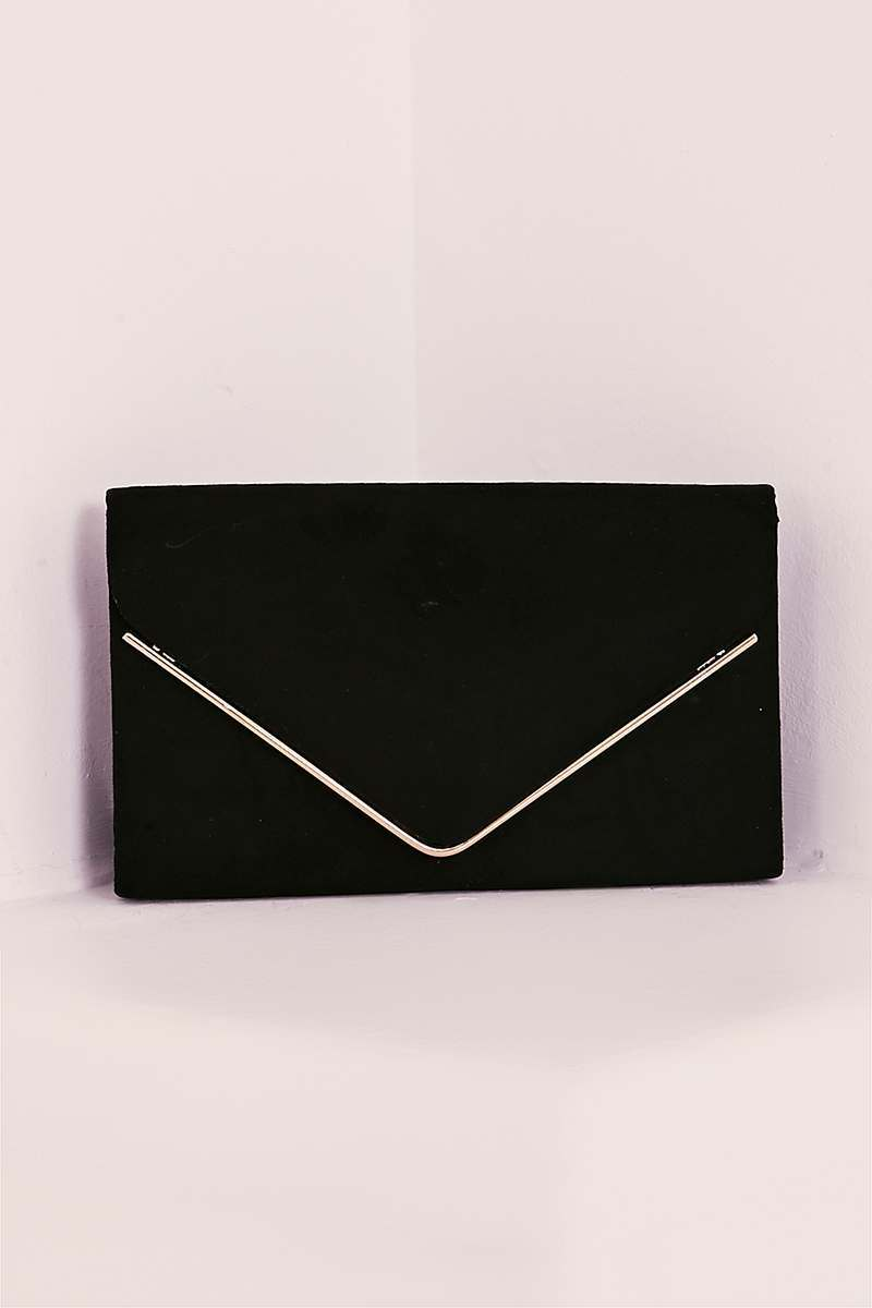 BLACK FAUX SUEDE ENVELOPE CLUTCH BAG