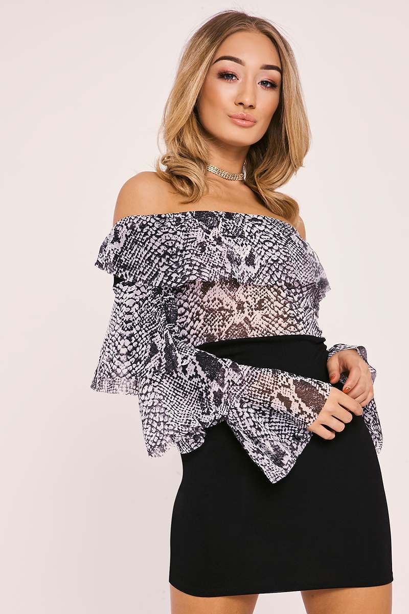 grey snake print mesh ruffle bardot dress