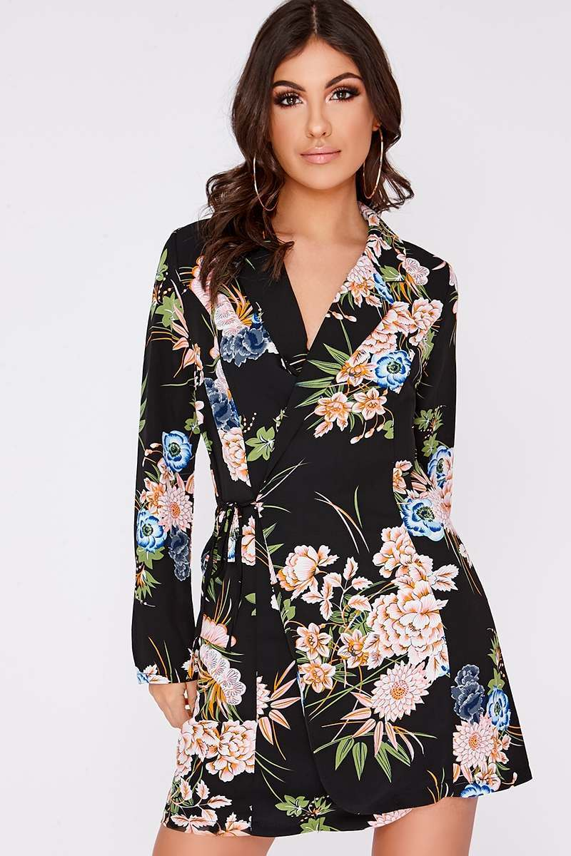black floral wrap over blazer dress