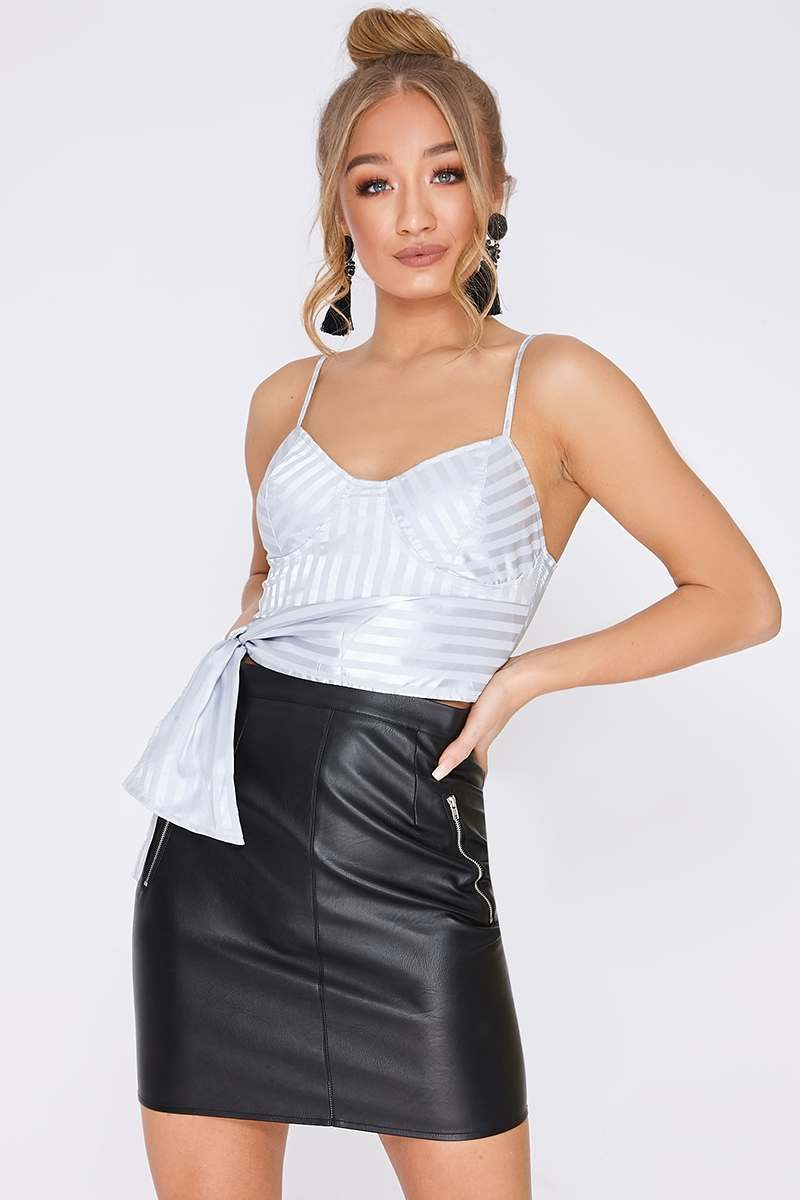 grey satin stripe tie side crop top