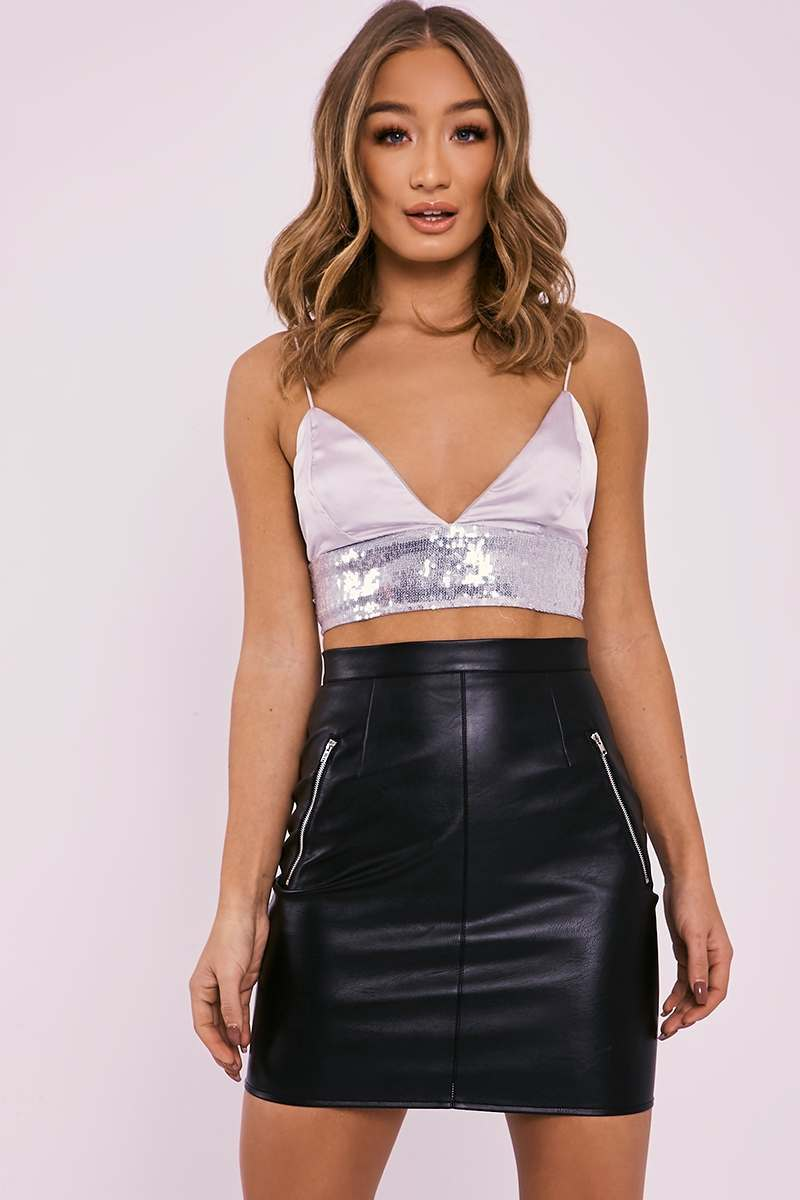 HAEGAN SILVER SEQUIN BAND SATIN BRALET