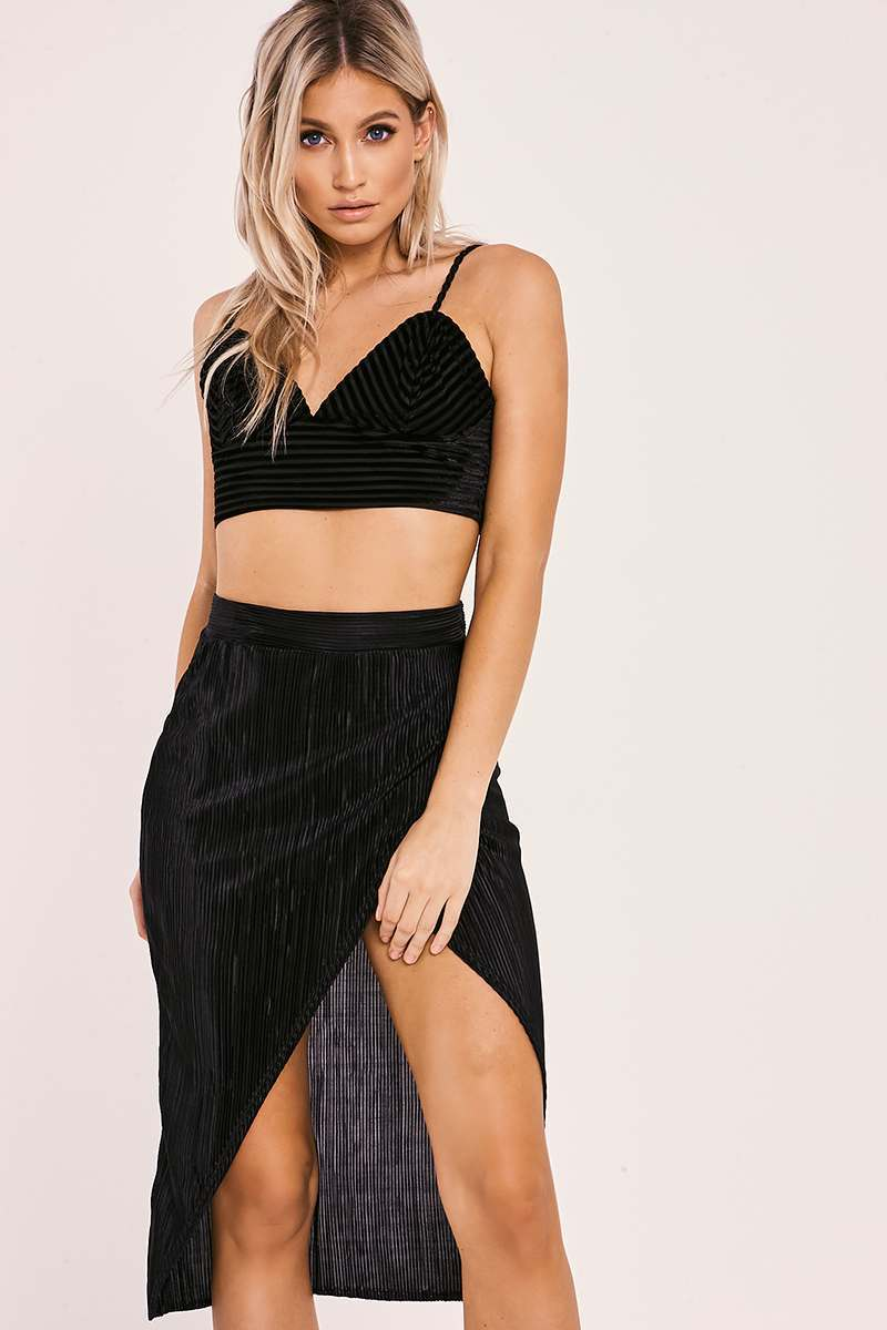 black crinkle midi wrap skirt