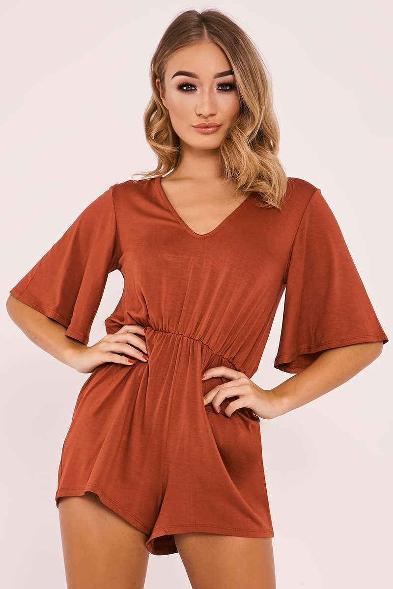 RYAH RUST PLUNGE PLAYSUIT