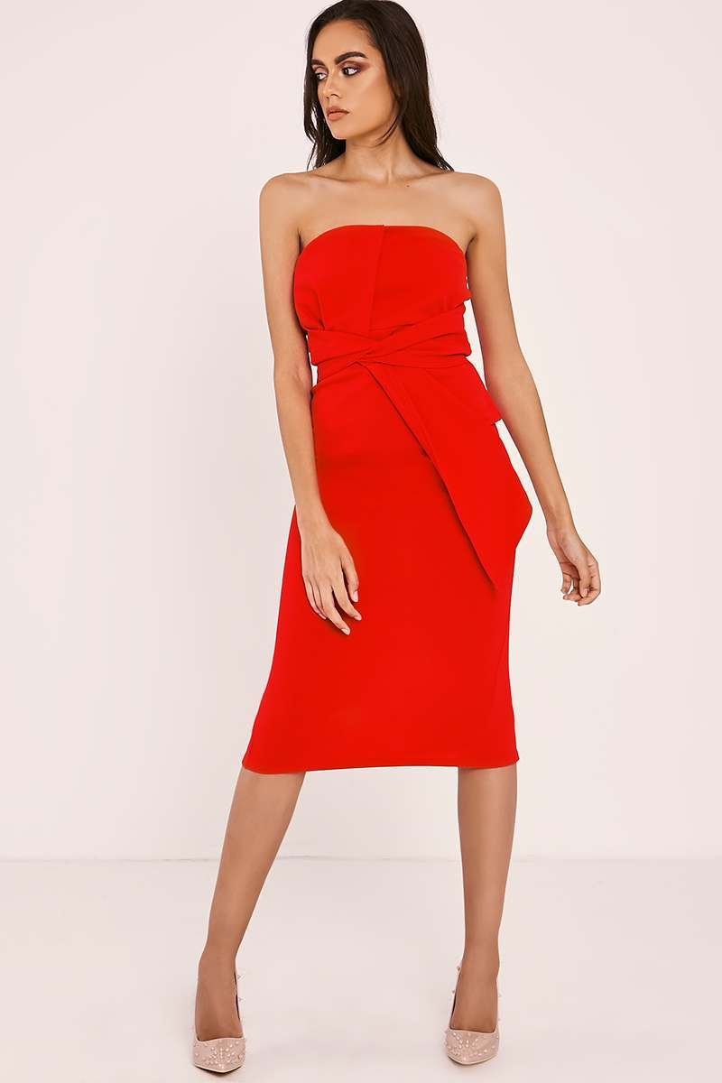 red wrap knot front bandeau midi dress
