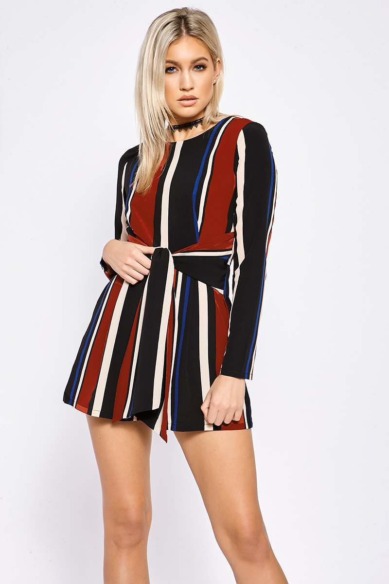 ADELA WINE AND NAVY STRIPE TIE WAIST PLAYSUIT