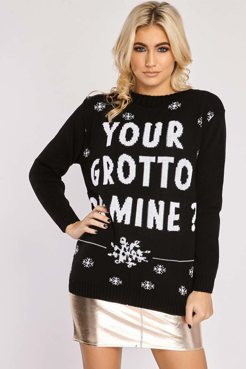 YOUR GROTTO OR MINE CHRISTMAS JUMPER BLACK