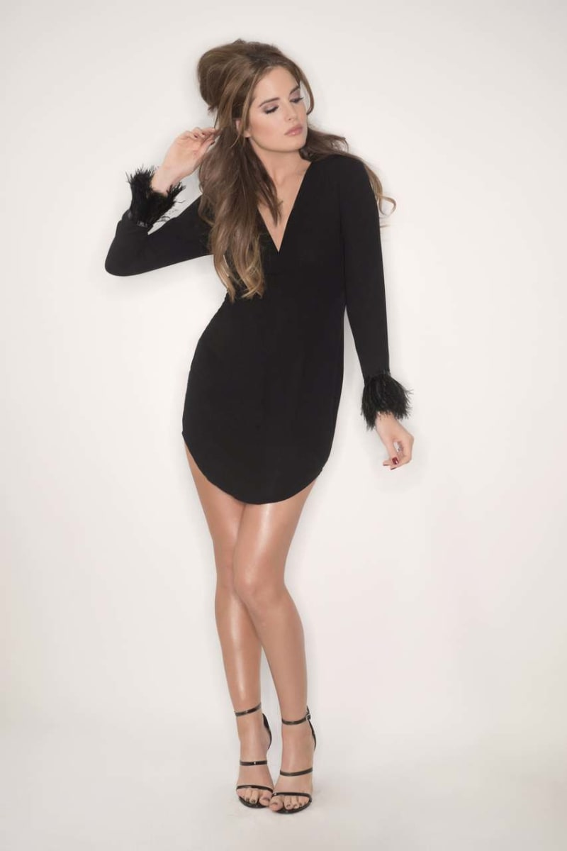 BINKY FEATHER SLEEVE SHIFT DRESS