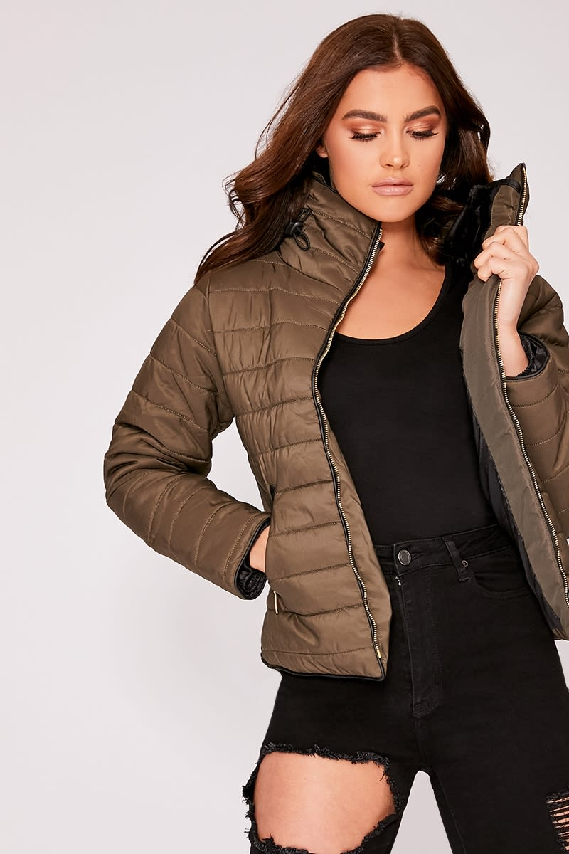 khaki padded jacket
