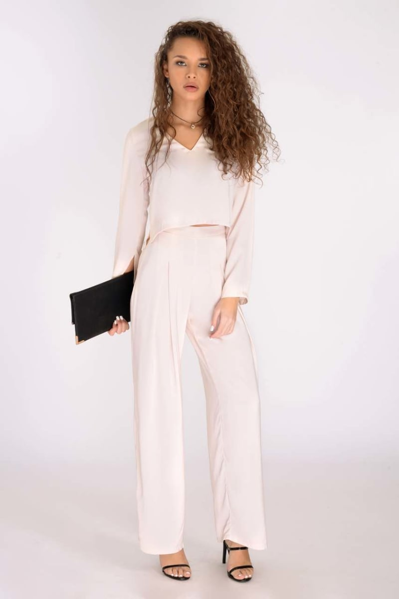 nude bell sleeve co-ord