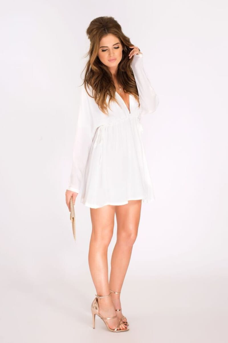 Binky Double Drawstring White Dress