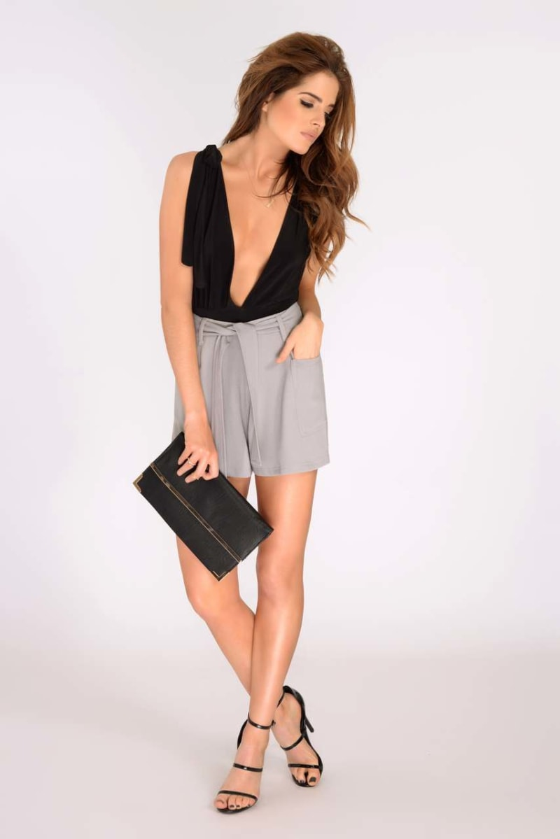 Binky Grey High Waisted Shorts