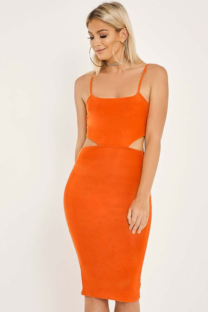 orange cut out midi dress