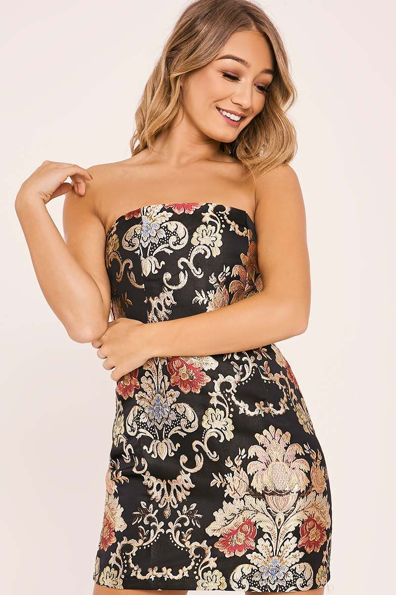 FATE BLACK FLORAL BROCADE BANDEAU DRESS