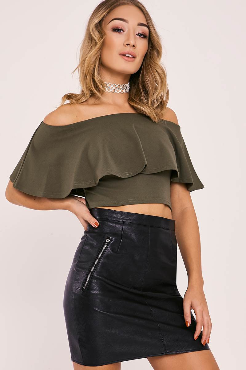 khaki bardot frill crop top