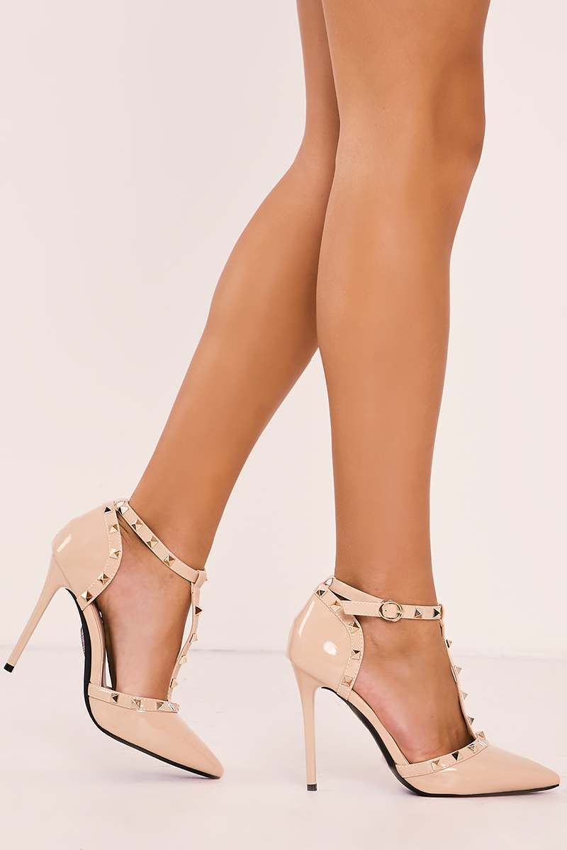 nude studded strappy pointed court heels