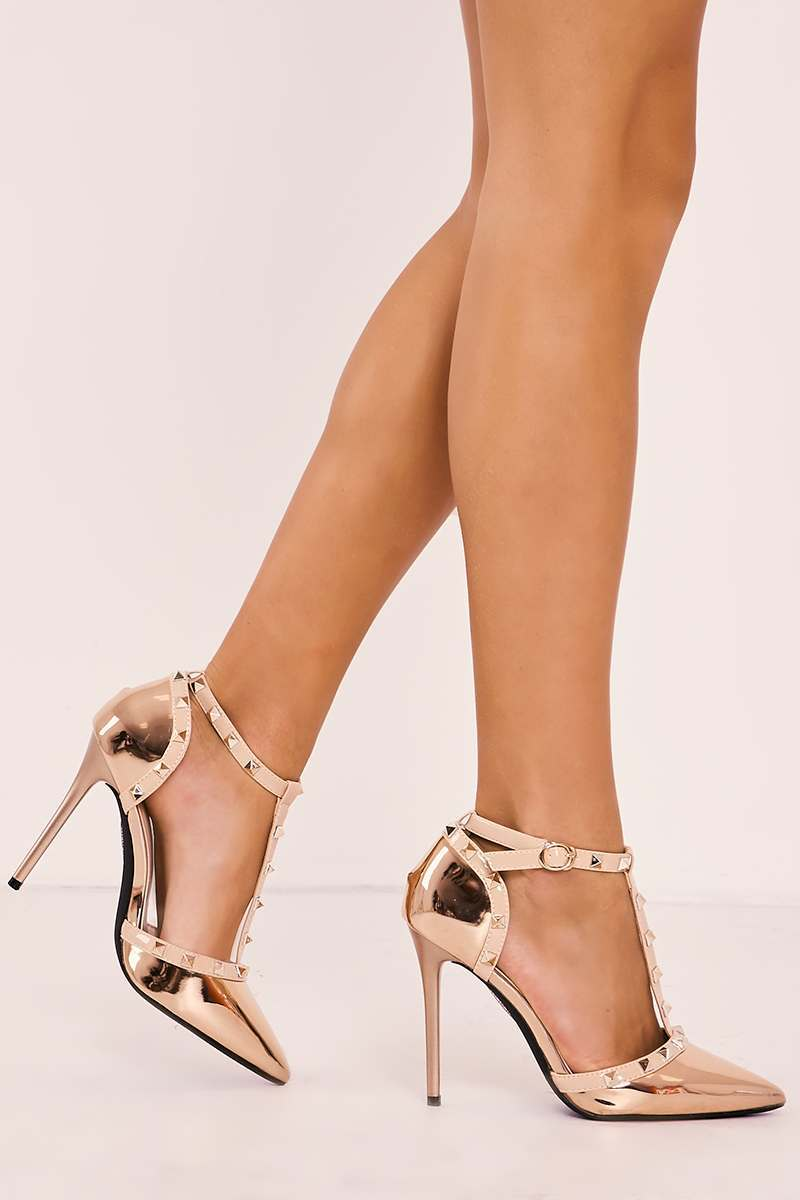 rose gold studded strappy pointed court heels