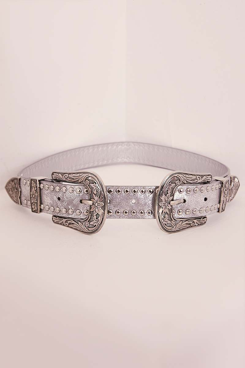 SILVER STUDDED DOUBLE BUCKLE WESTERN BELT