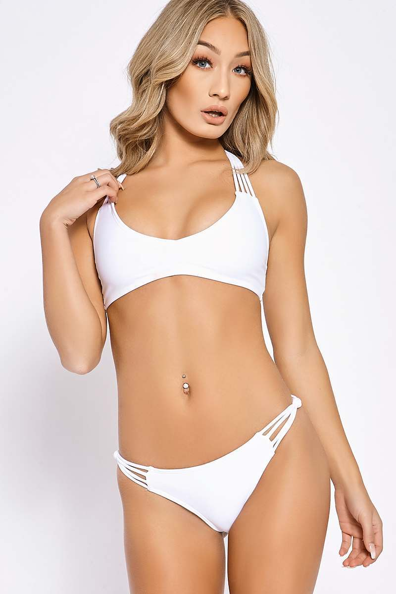 SOUTH BEACH WHITE MULTI STRAP BACK BIKINI