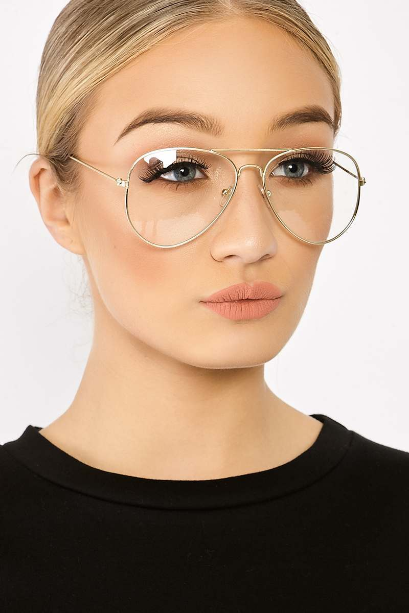 CLEAR LENS GOLD AVIATOR GLASSES