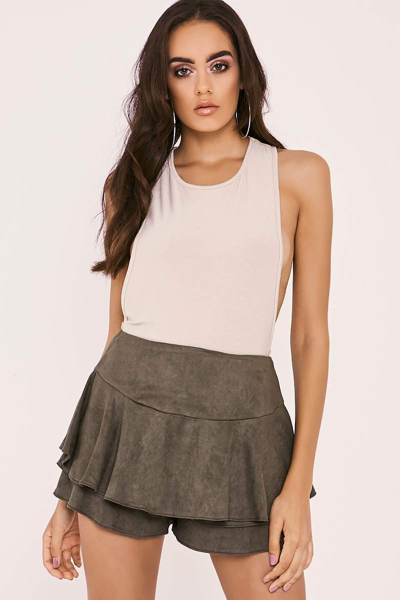 khaki faux suede frill overlay shorts