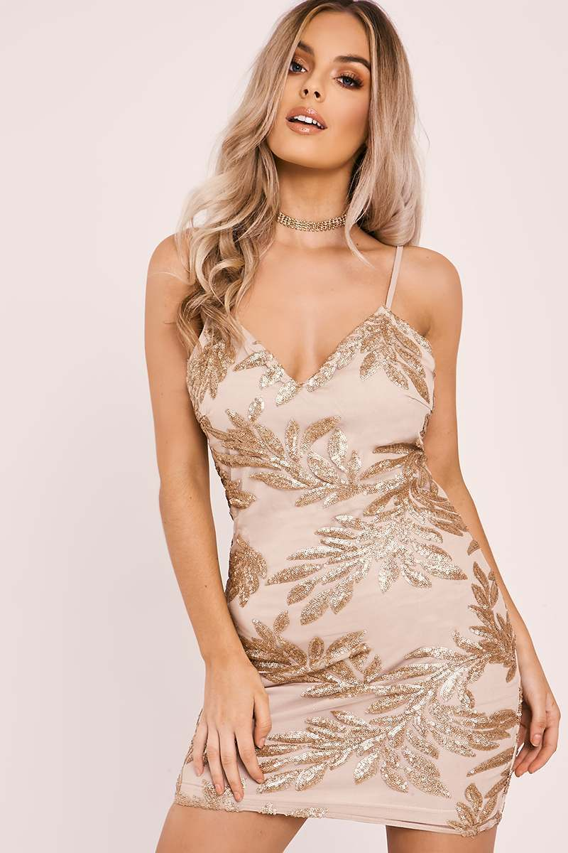 rose gold sequin strappy mini dress