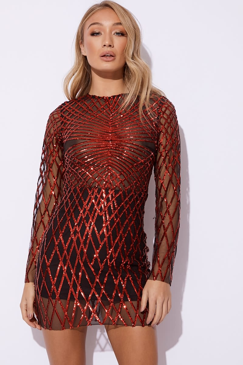 red long sleeve sequin mini dress