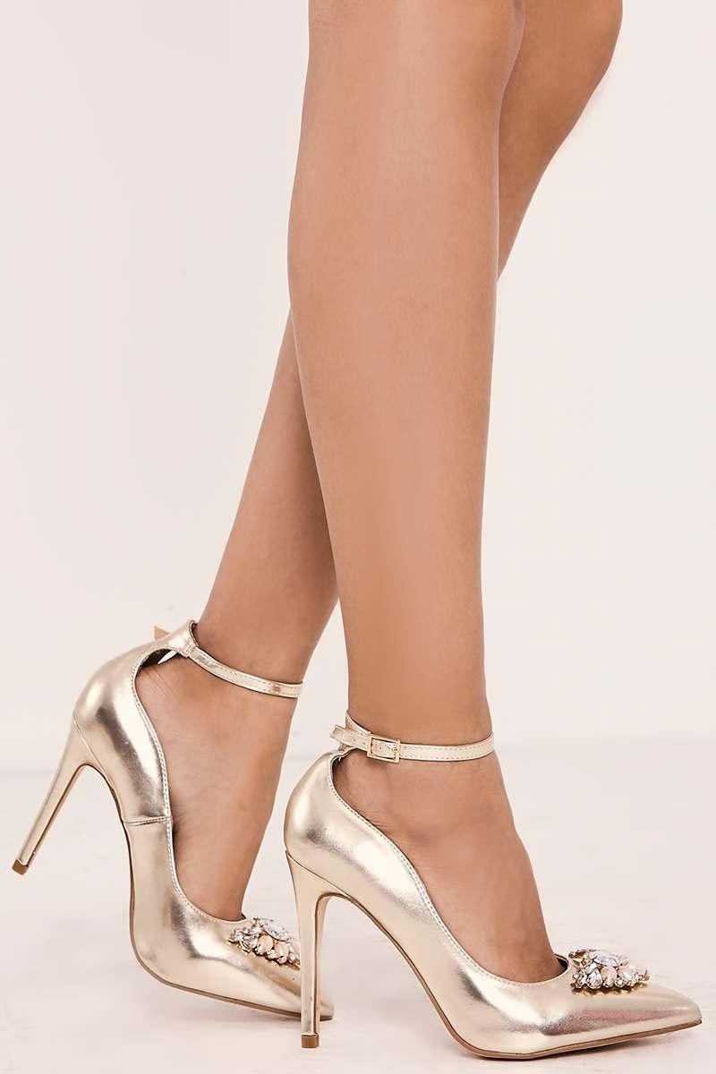 gold jewel trim strappy court heels
