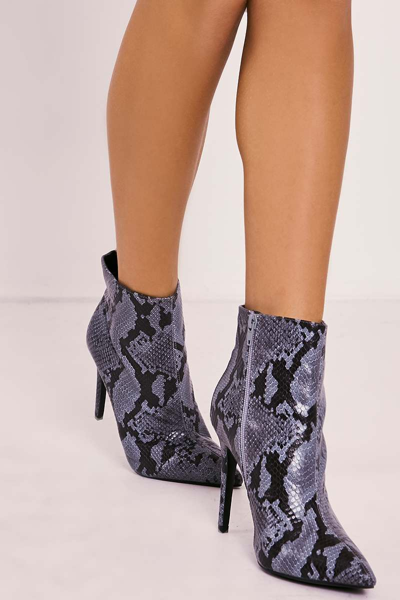 snake print heeled ankle boots