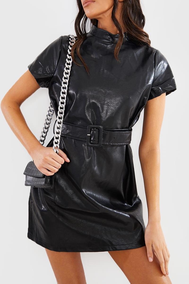 BLACK PU HIGH NECK BELTED MINI DRESS
