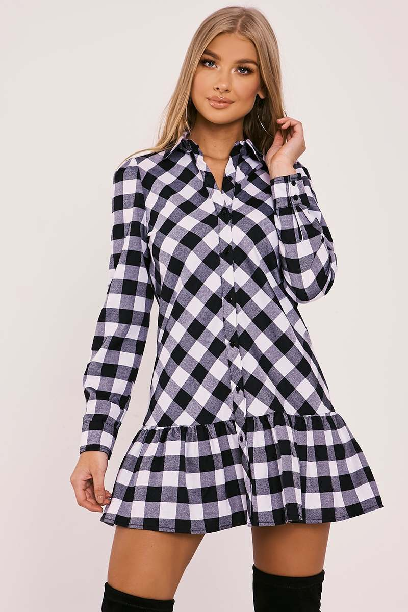 BILLIE FAIERS BLACK CHECK FRILL HEM SHIRT DRESS