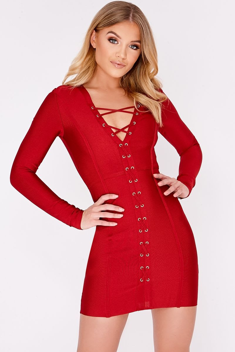 BILLIE FAIERS WINE LACE UP LONG SLEEVED BANDAGE DRESS