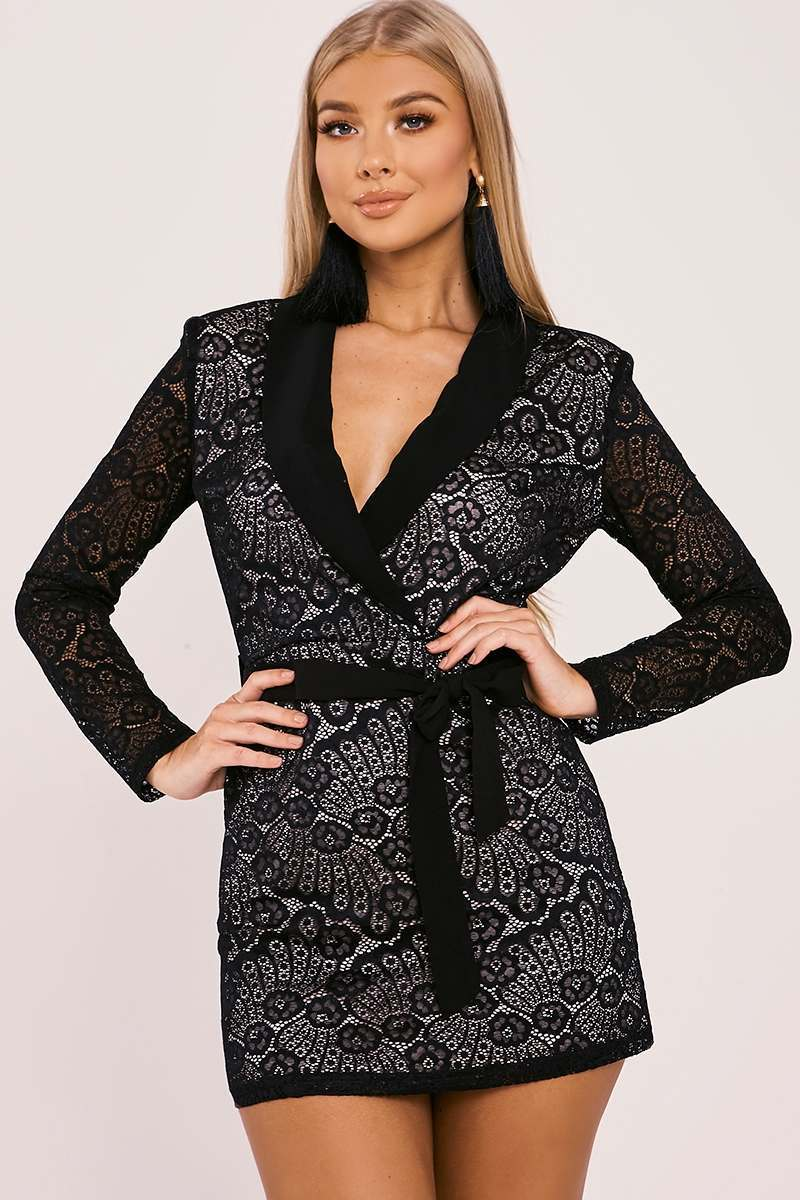 BILLIE FAIERS BLACK LACE TIE WAIST BLAZER DRESS