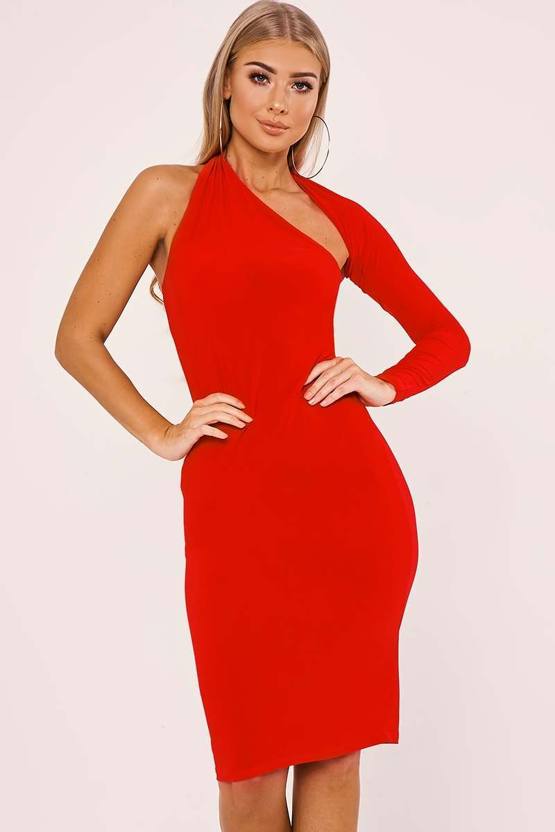 BILLIE FAIERS RED ONE SLEEVE SLINKY MIDI DRESS