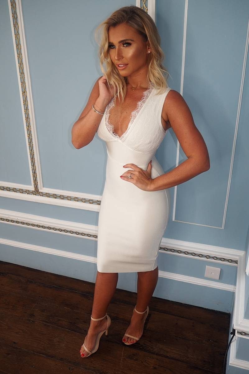 BILLIE FAIERS WHITE LACE BANDAGE MIDI DRESS