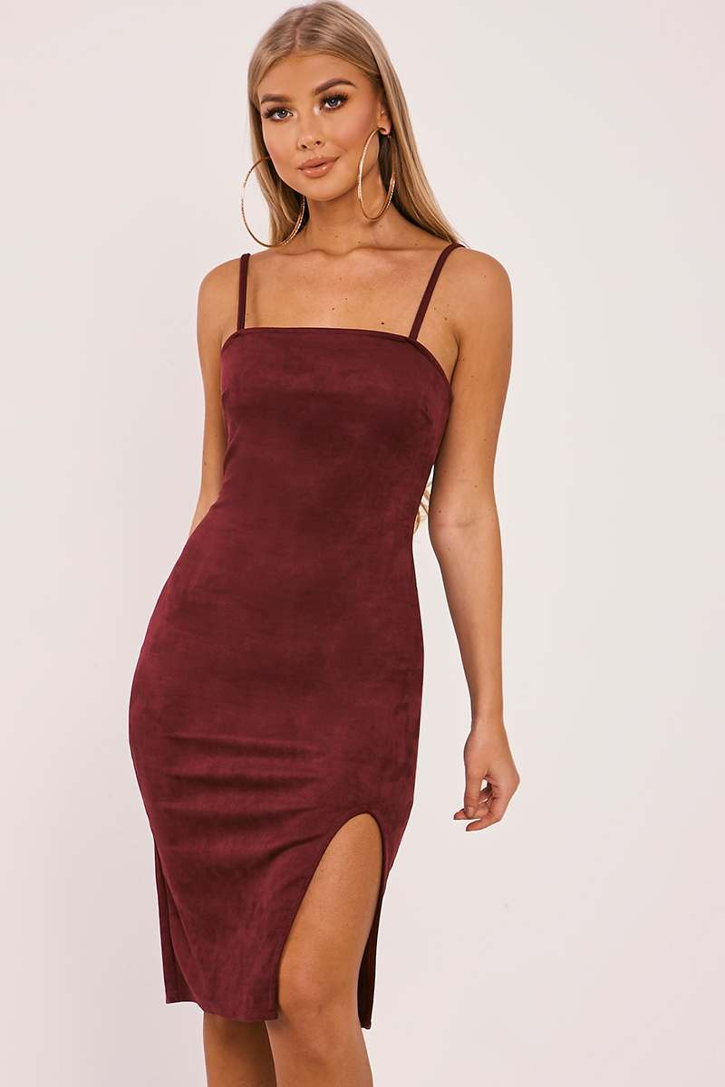 BILLIE FAIERS BERRY FAUX SUEDE SIDE SPLIT MIDI DRESS