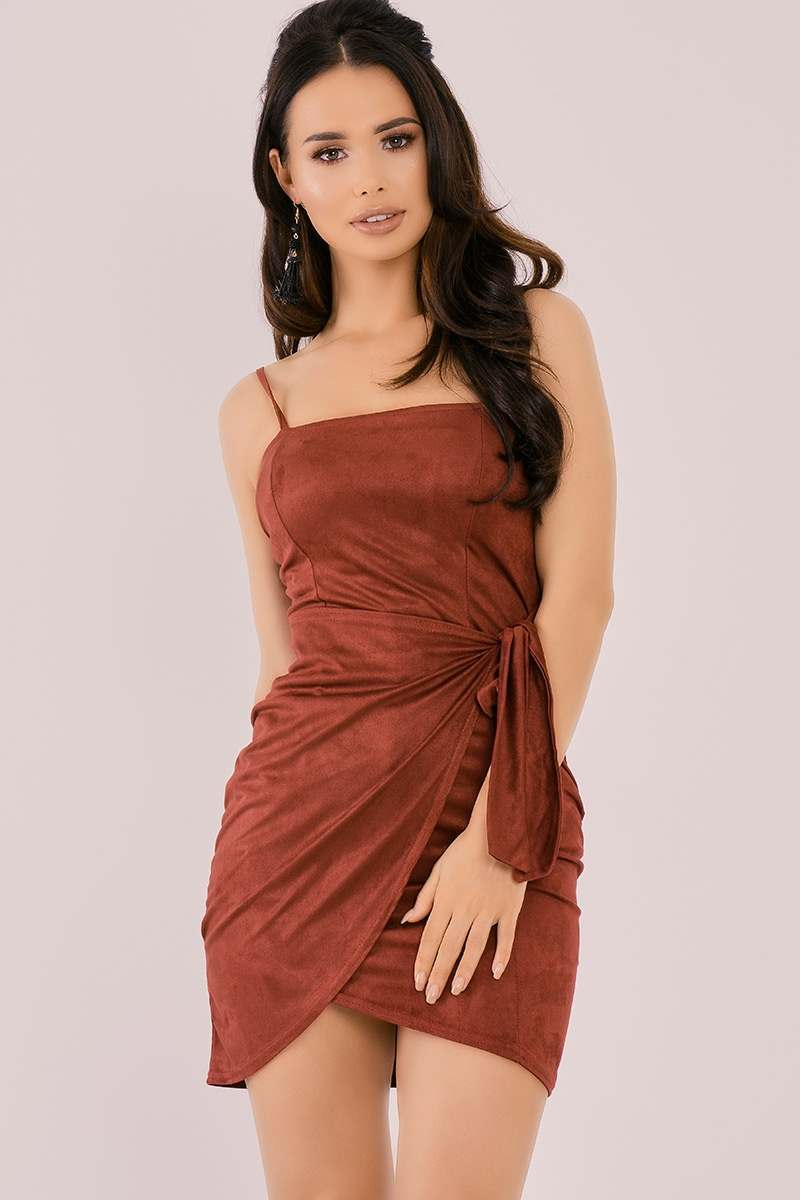 BINKY BURGUNDY FAUX SUEDE TIE SIDE BODYCON DRESS