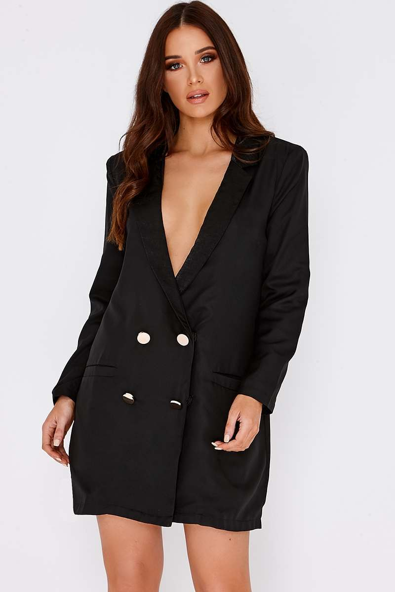 BINKY BLACK SATIN TRIM OVERSIZED BLAZER DRESS